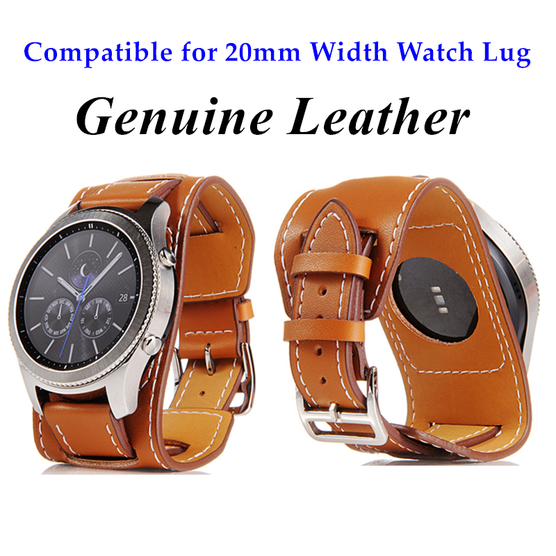 Hot Selling Genuine Leather Cuff Bracelet Compatible For 20mm Width Watch Lug Watch Replacement For Samsung Galaxy Watch Active