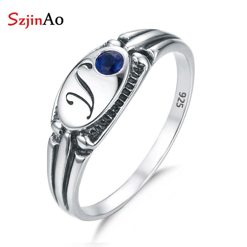 559da003a2ae SzjinAo genuino hecho a mano sólido 925 anillos de plata de ley con zafiro  septiembre piedra de ...