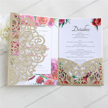 Gold card invitation for wedding with envelop RSVP glittery tri-folding laser cut greeting customized printing supply