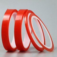 Double Sided Tape 5pcs 50mm 50M Strong Acrylic Adhesive Red Film Clear Sticker For Mobile Phone