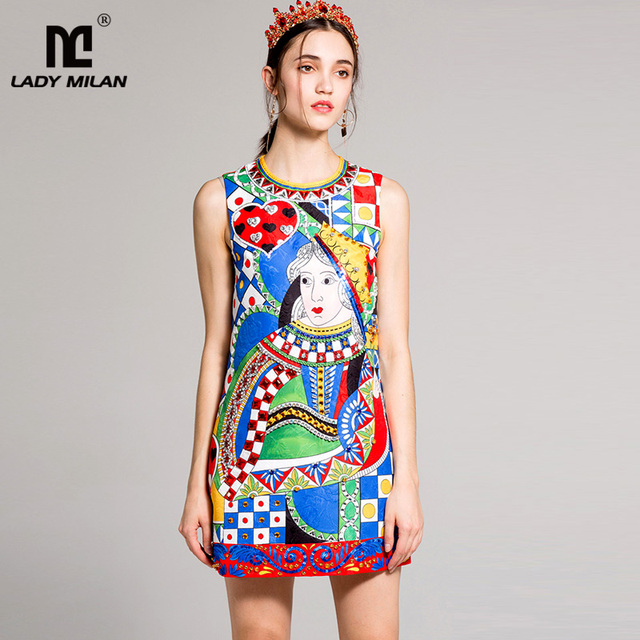 New Arrival 2018 Spring Summer Women's O Neck Sleeveless Vintage Printed Beaded A Line Short Casual Fashion Dresses