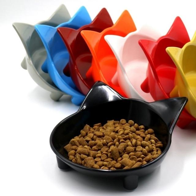2018 Pet Bowl Cute Cat Ears Color Cat Dog Food Bowl Melamine Slip