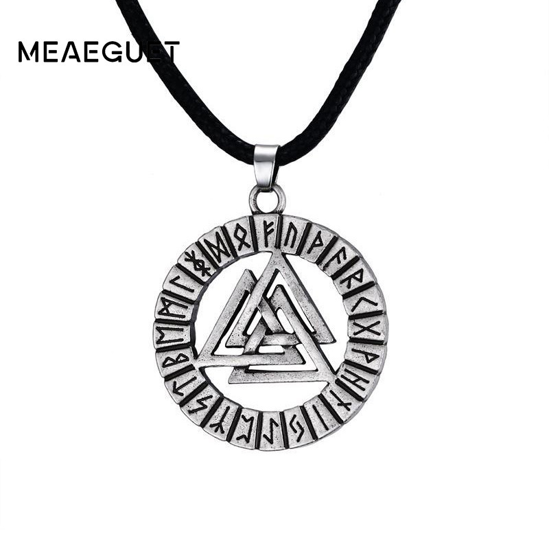 Double Sided Viking Pagan Pentagram Talisman Silver Tone Pendant Necklace