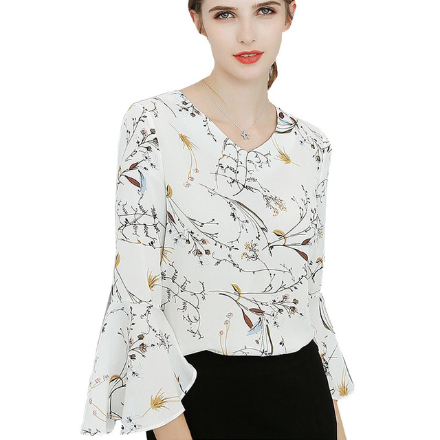 Us 9 99 49 Off Koran Spring Summer Style 2018 Women Blouses Casual Elegant Ol Print Chiffon Blouse Work Wear Blusas Tops Shirts Xxl White Zy271 In