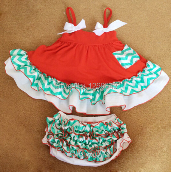 Christmas Baby Clothes, Red White Green Baby Swing Top And Bloomer Set ,Swing Dress For Kids