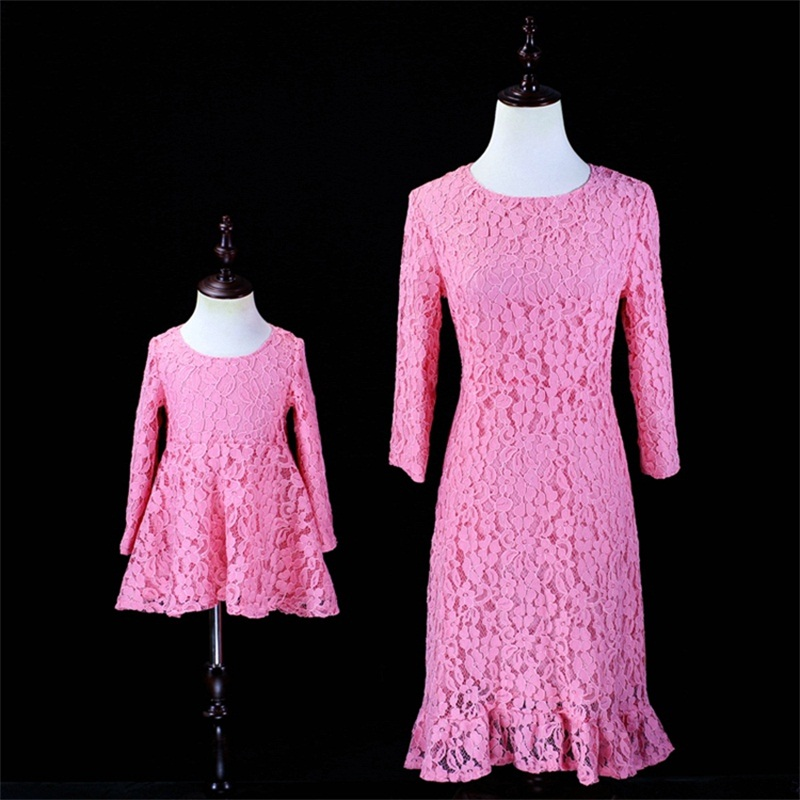 Autumn Family Look children Clothes mother and kids girl dress infant pink Princess formal party Dress Mom Daughter lace dresses свитшот бабочка family look