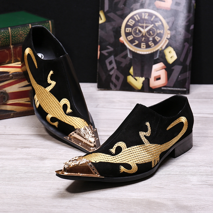 British style men's real leather business flat shoes embroidered leather slip on pointed party dress shoes men sapato masculino cangma british style leather pointed shoes tassel casual men handmade designer leisure slip on shoes 2017 male sapato masculinos