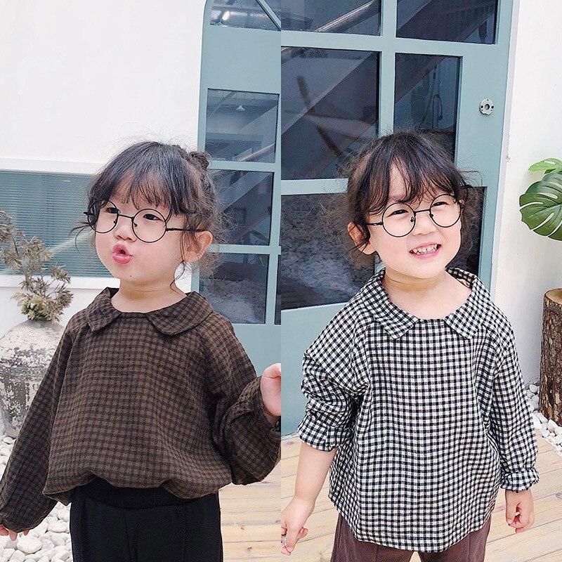 Fall 2019 New Children Plaid Long-sleeved Shirt Toddler Kids Casual Doll Collar Top Blouses Girls Baby Cotton-linen Shirts