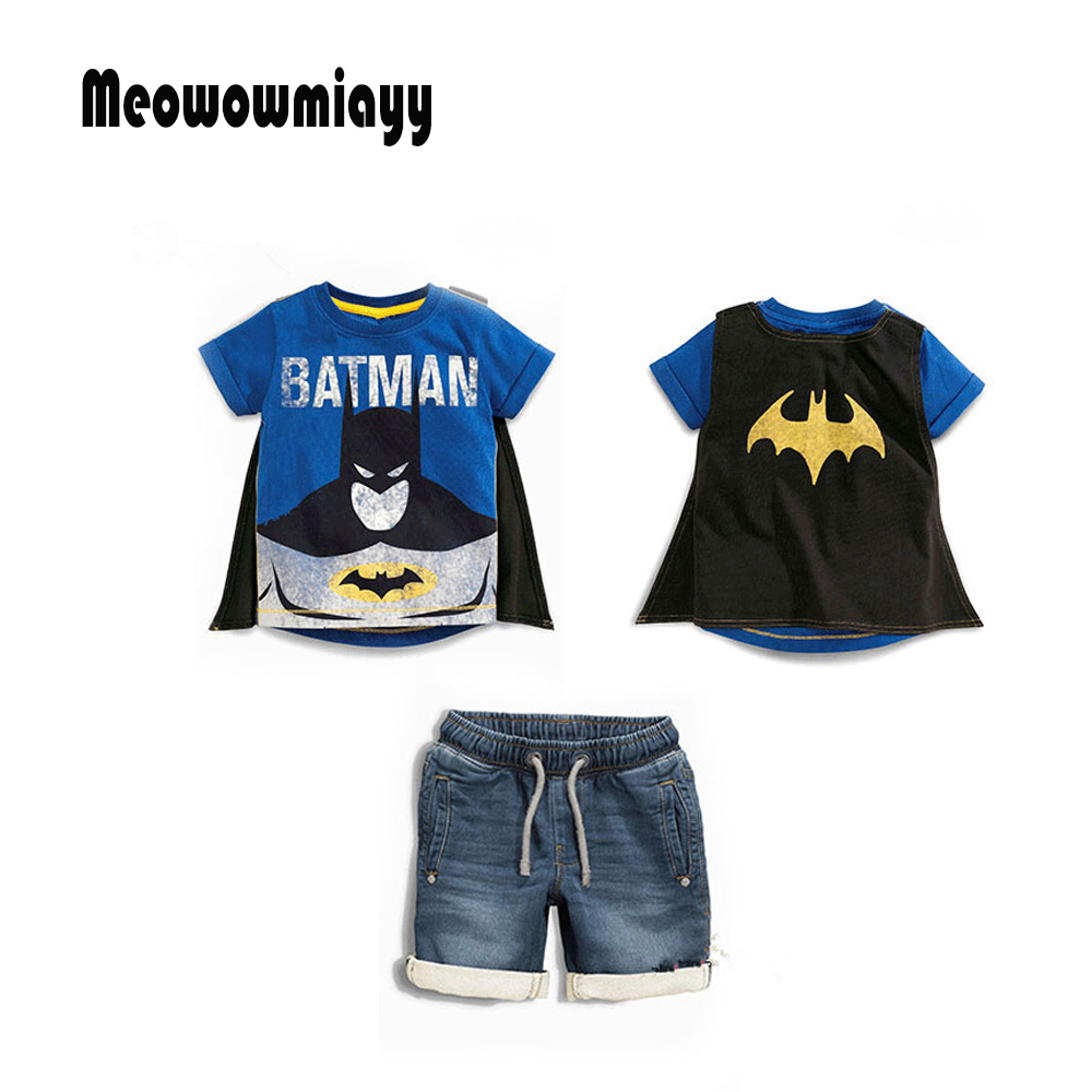 Summer children clothing baby boy clothes 3pcs 2018 cartoon batman t shirt ,cape,denim shorts kids clothes boys clothing set 2pcs children outfit clothes kids baby girl off shoulder cotton ruffled sleeve tops striped t shirt blue denim jeans sunsuit set