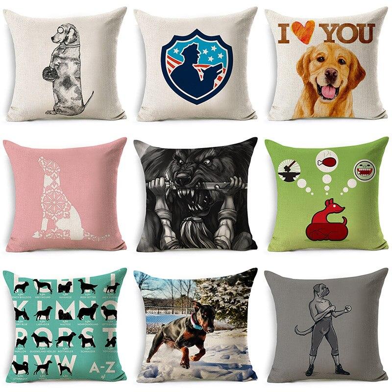 Cute I Love You Dog Cartoon Pillowcase Cotton Linen Cushion Decorative Pillows Use For Home Sofa Car Office Almofadas Cojines