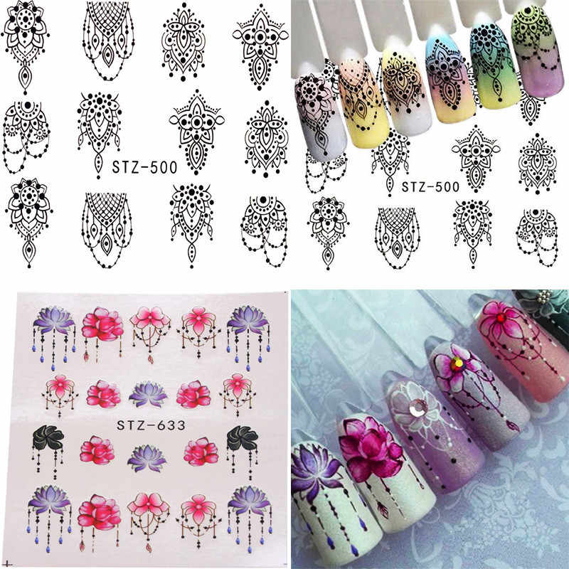 1 Sheets French Style Jewelry Necklace Water Transfer Nail Art Sticker Full Wraps DIY Flower Decals Manicure Decoration Tips
