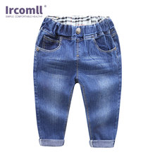 Ircomll Fashion Childrens Denim Pants Baby Boys Casual Solid Color Loose Jeans for 2-7 Yrs Trousers Kids Clothes