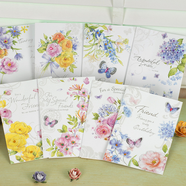 Elegant Butterly In Flower Greeting Cards Paper Happy Birthday Card To Friend