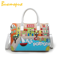 CHARA'S high quality handbag women's sweet Cartoon Boston Women's Bags printing High capacity 34cm*24cm Shoulder Bags Female