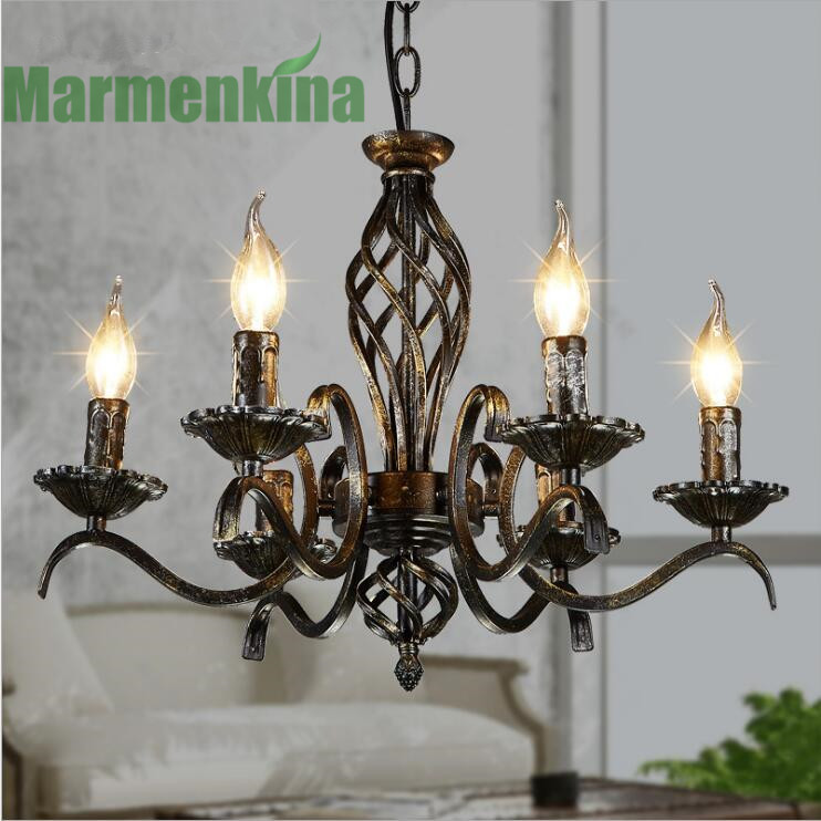 Candle cafe  iron art chandelier retro restaurant living room study lamp.E14*6,AC:110-240V. contemporary and contracted creative personality retro art glass chandelier cafe restaurant study lamps act the role of milan