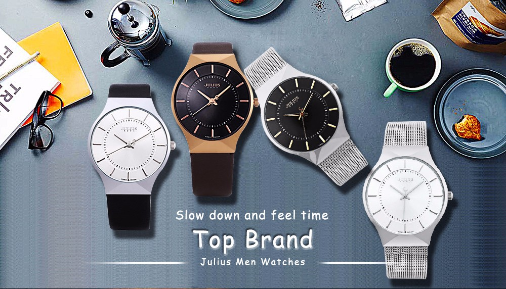 c82c341cab3 ThinWatchStore.com - JULIUS Mens Stainless Steel Band Analog Quartz Ultra  Thin Dial Watch
