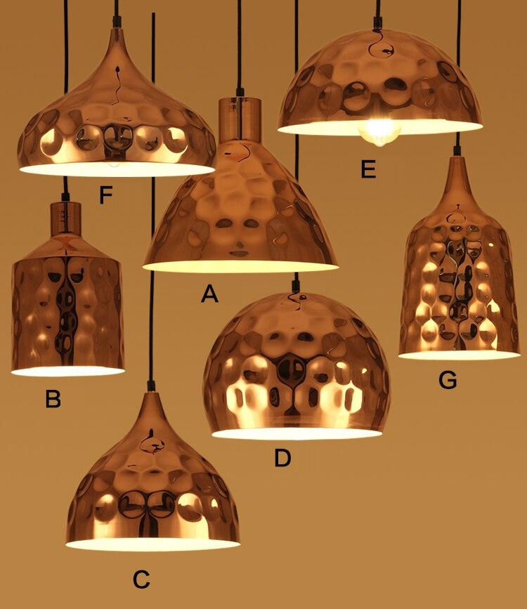 Loft industriel rétro bol tasse Rose or Dent métal suspension lampe en acier inoxydable suspension pour Restaurant Bar café Club