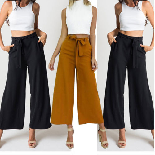 3e667f4975bdd New Style Fashion Women OL Bandge Palazzo Pants Ladies High Waist Wide Leg  Culottes Long Trousers