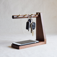 Creative Brass Keys Hook L Shape Black Walnut Door Entrance Storage Rack Eco Natural Wood Home Table Organizer for Sundries