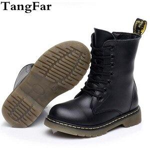 Image 1 - 高ブーツ子供の本革冬の毛皮のアンクルブーツ男の子の幼児ファッションガールズスノーブーツ子供靴