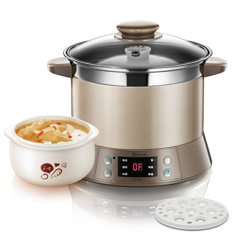 Bear DDZ-B12D1 Electric Cooker Waterproof Ceramics Electric Stew Pot Stainless Steel Porridge Pot Soup Stainless Steel Cook Stew cukyi household 3 0l electric multifunctional cooker microcomputer stew soup timing ceramic porridge pot 500w black