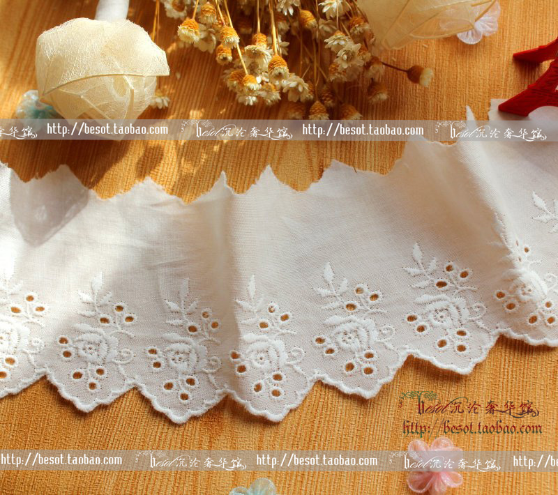 free shipping 5yards/lot 6.5cm embroidery hole rose flower white cotton  lace dress diy accessories trim ribbon fabric lace695-in Lace from Home &  Garden on ...
