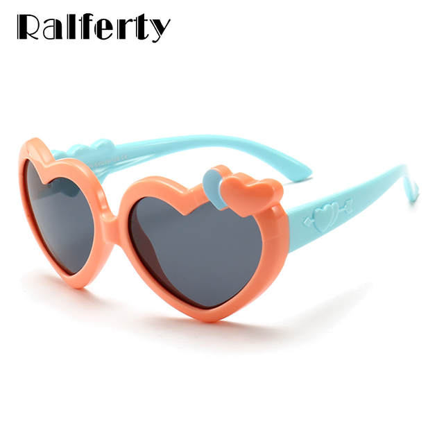 f35ce1b75 Ralferty 2018 Heart Shaped Sunglasses Kids Girls Cute Pink Sun Glasses  UV400 Child Polarized Sunglass Eyewear TR90 Infant K1907-in Sunglasses from  Mother ...