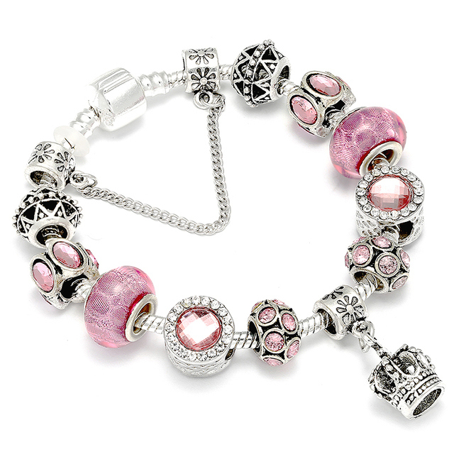 Queen Jewelry Mickey Minnie Lovers Charm Bracelets Pink Rabbit Pendant Brand Bracelet DIY Making For Women Wife Best Gift