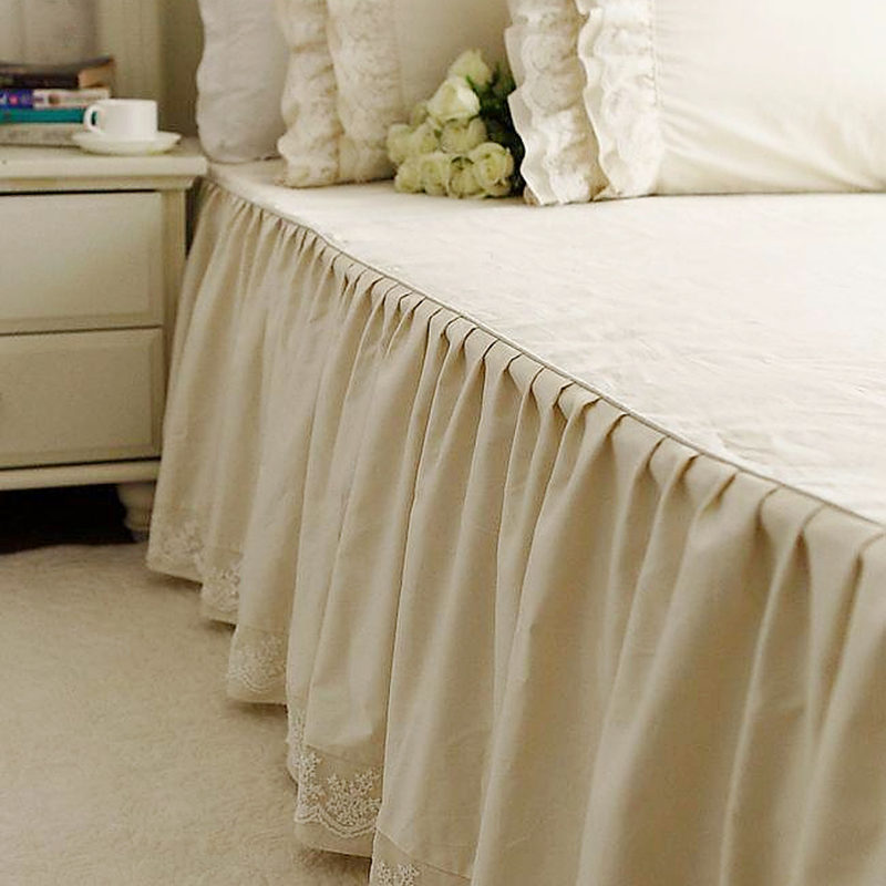 New arrivel Alec high grade Satin Embroidered Lace bedspread cotton Ruffle Skirt bed sheets wedding decoration bedskirt textile