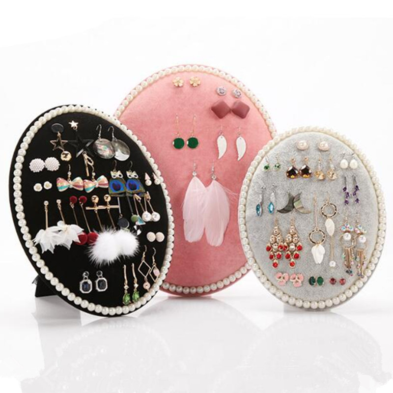 Round Jewelry Display Stand Flocked Fabric Board Earrings  Showcase Organizer Necklaces Bracelet Holder
