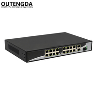 16 ports POE Switch with 16 POE Ports 2 Gigabit Uplink 1*1000Mbps SFP 802.3AF/AT Standard POE switch Power to IP Camera router