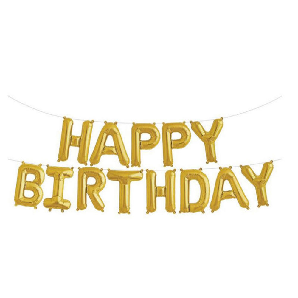 """С днем рождения воздушные шары плакат """"с днем рождения"""" воздушный шар Модный золотой серебряный 13 букв праздничное мероприятие дети взрослый - Цвет: Golden"""