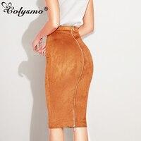 Smoves High Waisted Zipper Through Suede Skirt Knee Length Strechy Pencil Skirts
