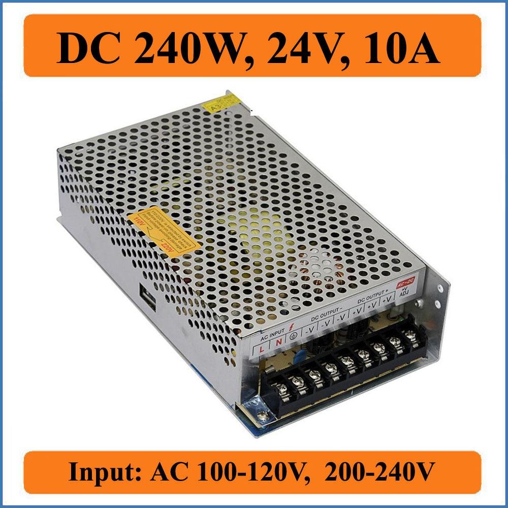 240W 24V 10A alimentation à découpage ca 100-240V à cc 24V Triple sortie pour dispositif d'affichage de lumières de bande de LED et pilote pas à pas CNC