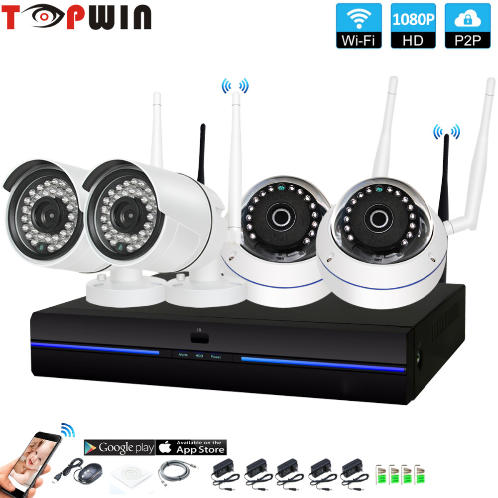 4CH CCTV System Wireless 1080P NVR 4PCS 2.0MP IR Outdoor indoor P2P Wifi IP CCTV Security Camera System Surveillance Kit cctv system 4ch cctv kit 720p 960p 1080p 2 0 hdmi p2p onvif 4ch nvr 4pcs ip camera security 4pcs array ir leds ip camera kit