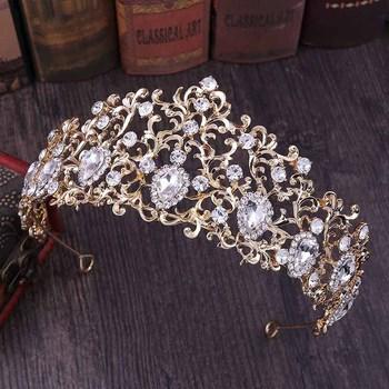 FORSEVEN czerwony złoty srebrny kolor kobiety Bridal ślub panny młodej biżuteria do włosów liść Shining Crystal tiary korony de Noiva stroiki tanie i dobre opinie Ze stopu cynku moda KRYSZTAŁ Tiaras Archiwalne 42751 Serce 120g 15cm 6 5cm