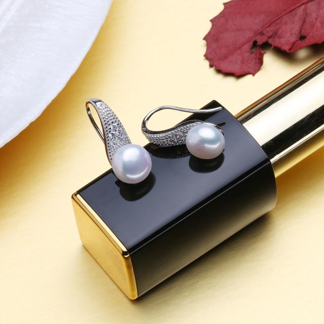 FENASY Pearl Jewelry 925 Sterling Silver Cubic Zirconia CZ Classic Freshwater Pearls Stud Earrings For Women Birthday Idea Gift