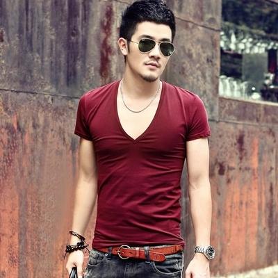 Men's brand V neck sexy T-shirt men cotton lycra t-shirts Short Sleeve Tops Tees Men's T-shirt New Mens Summer designer T600