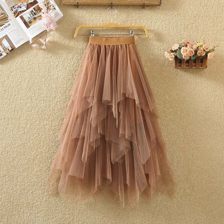 Women irregular Tulle Skirts Fashion Elastic High Waist Mesh Tutu Skirt Pleated Long Skirts Midi Skirt Saias Faldas Jupe Femmle 14