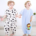 Baby cartoon penguin printing bag with short sleeves Cotton cent leg bag Summer prevent play is my pajamas 0 to 2 years old baby