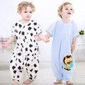 Bebê pinguim dos desenhos animados saco de impressão com mangas curtas de algodão cent bolsa de perna verão impedir a reprodução é meu pijama 0 a 2 anos de idade do bebê