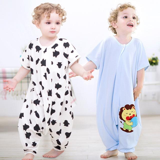 Bebé pingüino de la historieta de la impresión de manga corta de algodón cent pierna verano impiden juego es mi pijama 0 a 2 años de edad del bebé