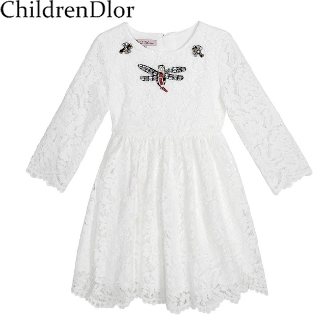 Girls Green Lace Dress 2017 Brand Kids Dress with Embroidered Dragonflies Girls Dresses for Party Clothes Children Costume