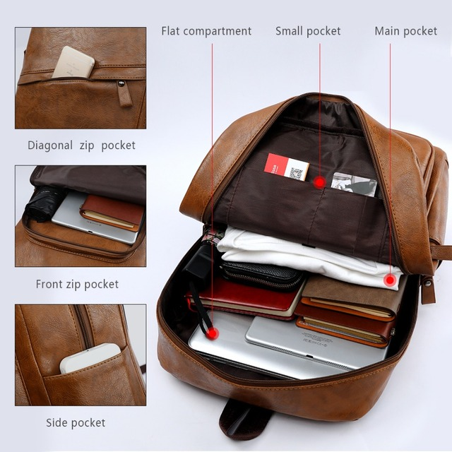 VICUNA POLO Waterproof Leather High Quality Travel Laptop Men Backpack With Front Pocket Large Capacity Backpack mochila hombre