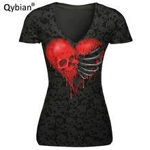 Mais novo camiseta feminina moda manga curta amor crânio cabeça impressa camiseta casual camisas de rua magro femme topos