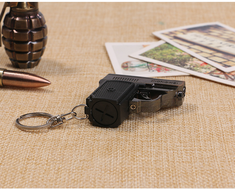 Pistol LED Flashlight Gift Small Flashing Male And Female Key Pendant Laser Infrared Light