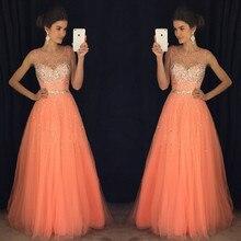Mode orange strass lange prom kleider designer sleeveless bördelndes reizvolle abend-partei-kleider einfache tüll a-line abendkleid
