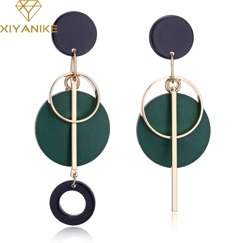 XIYANIKE אופנה הצהרת זרוק עגול עץ עגילים לנשים גיאומטריה הולו סגסוגת להתנדנד עגיל אתני תכשיטי מתנות E1604