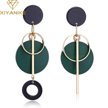 XIYANIKE Fashion Statement Drop Round Wood Earrings for Women Geometry Hollow Alloy Dangle Earring Ethnic Jewelry Gifts E1604