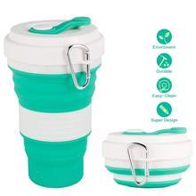 550 мл дорожная чашка, кружка, складная силиконовая чашка с крышкой, легкая кружка для воды, кофе, питья, для кемпинга, туризма, BPA бесплатно